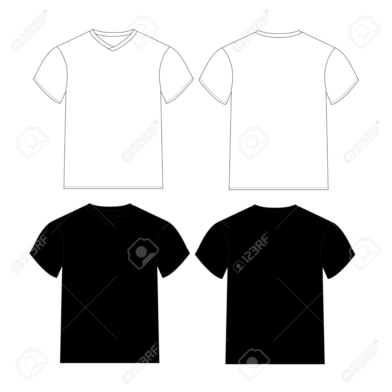 Blank T-shirts Template With Black And White Color Stock Photo ...