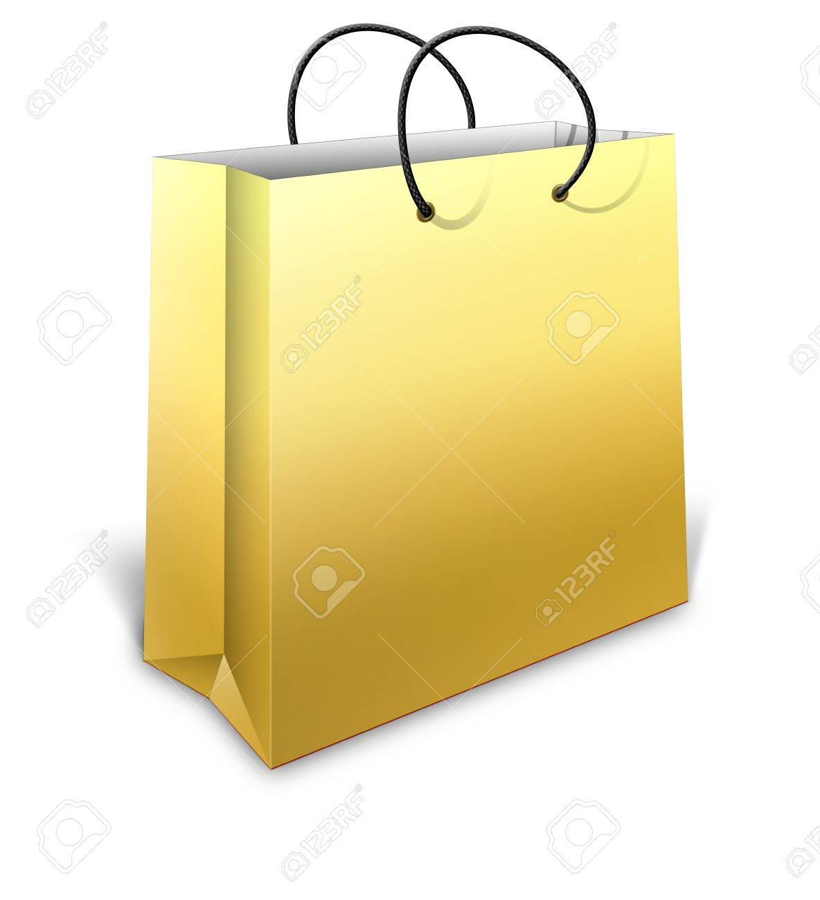 3D Gold Shopping Bag For Gifts On White Background Stock Photo ...