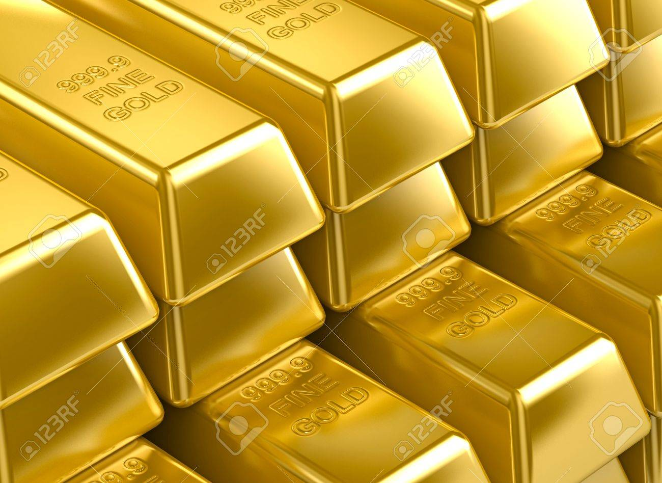 Stack With 3D Gold Bars Gold Texture Background Wallpaper Stock