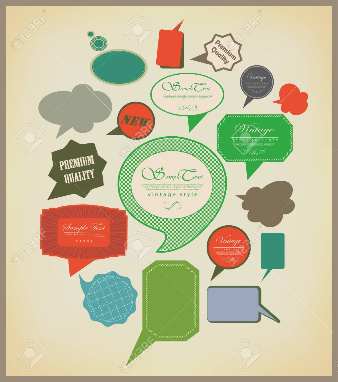 The new retro speech bubbles/signs collection. Vector Illustration Stock Vector - 23441337