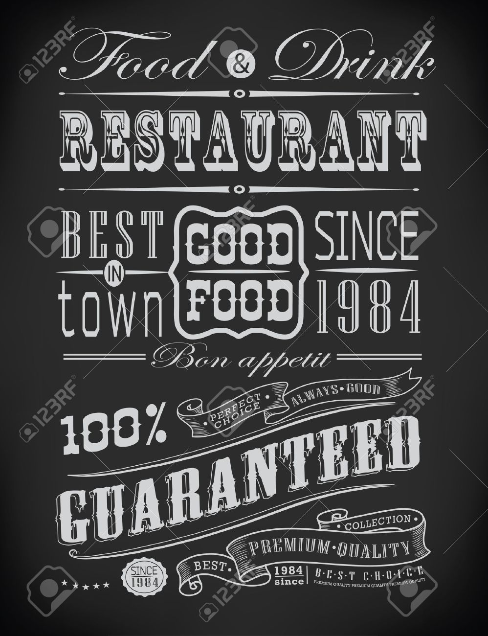 Set of Vintage Retro typographic restaurant elements/ decoration Stock Vector - 23474514