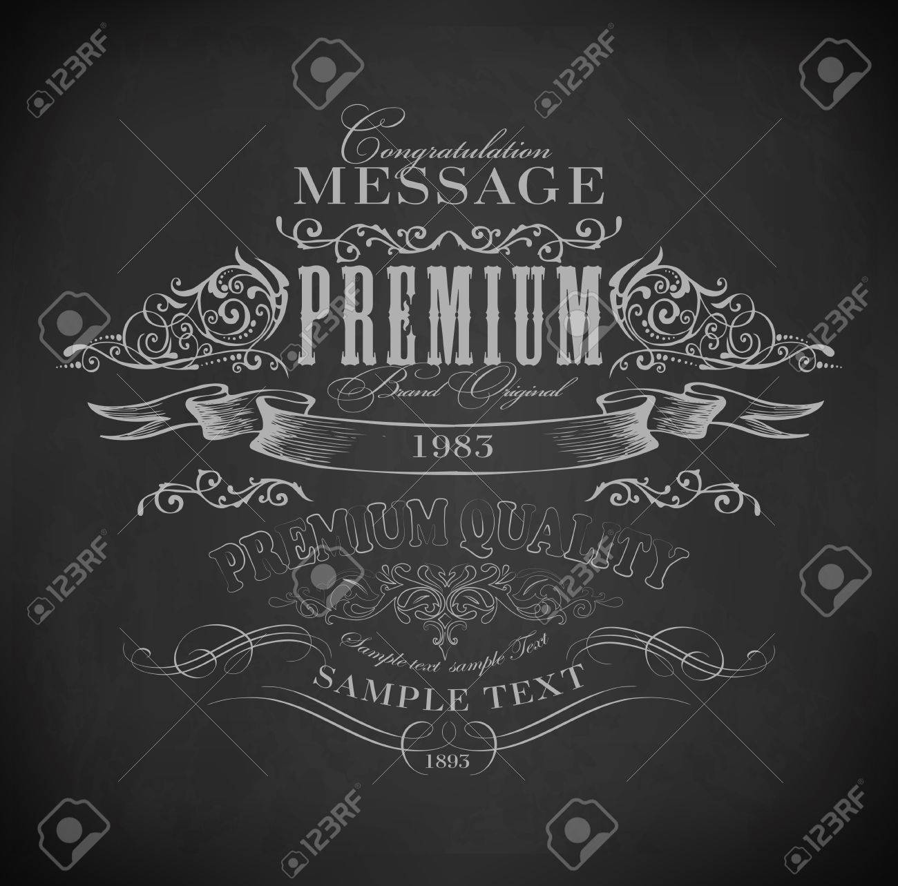 Chalk  typography, calligraphic design elements, page decoration and labels of drawing with chalk on blackboard Stock Vector - 23702003