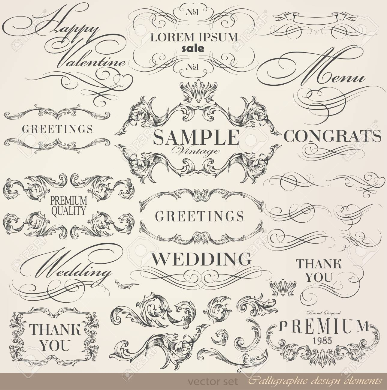 calligraphic design elements and page decoration/ vector set Stock Vector - 23719264