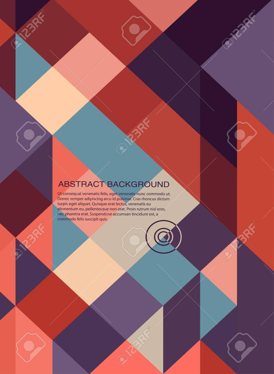 Abstract Book Cover Background Design Retro Mosaic Brochure Stock Vector