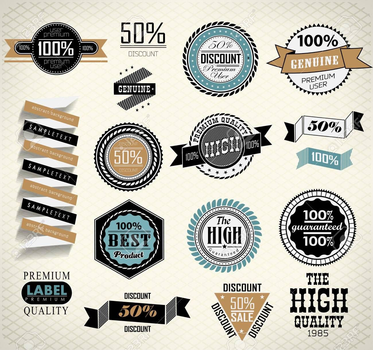 Vintage labels set/ Quality and guaranteed Stock Vector - 23748555