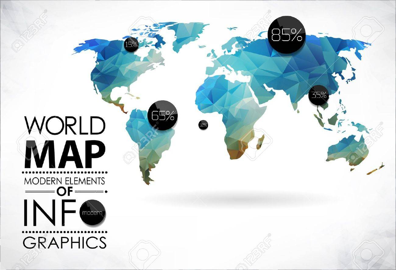 modern elements of info graphics world map and typography royalty