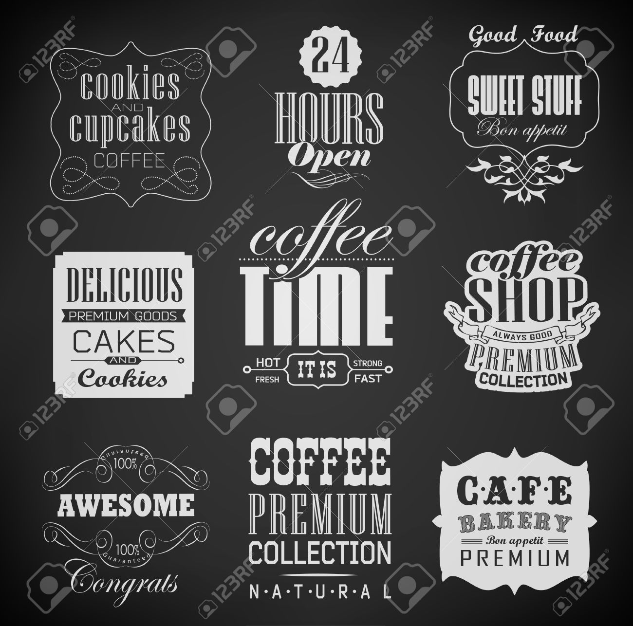 bakery labels and typography coffee shop cafe menu design