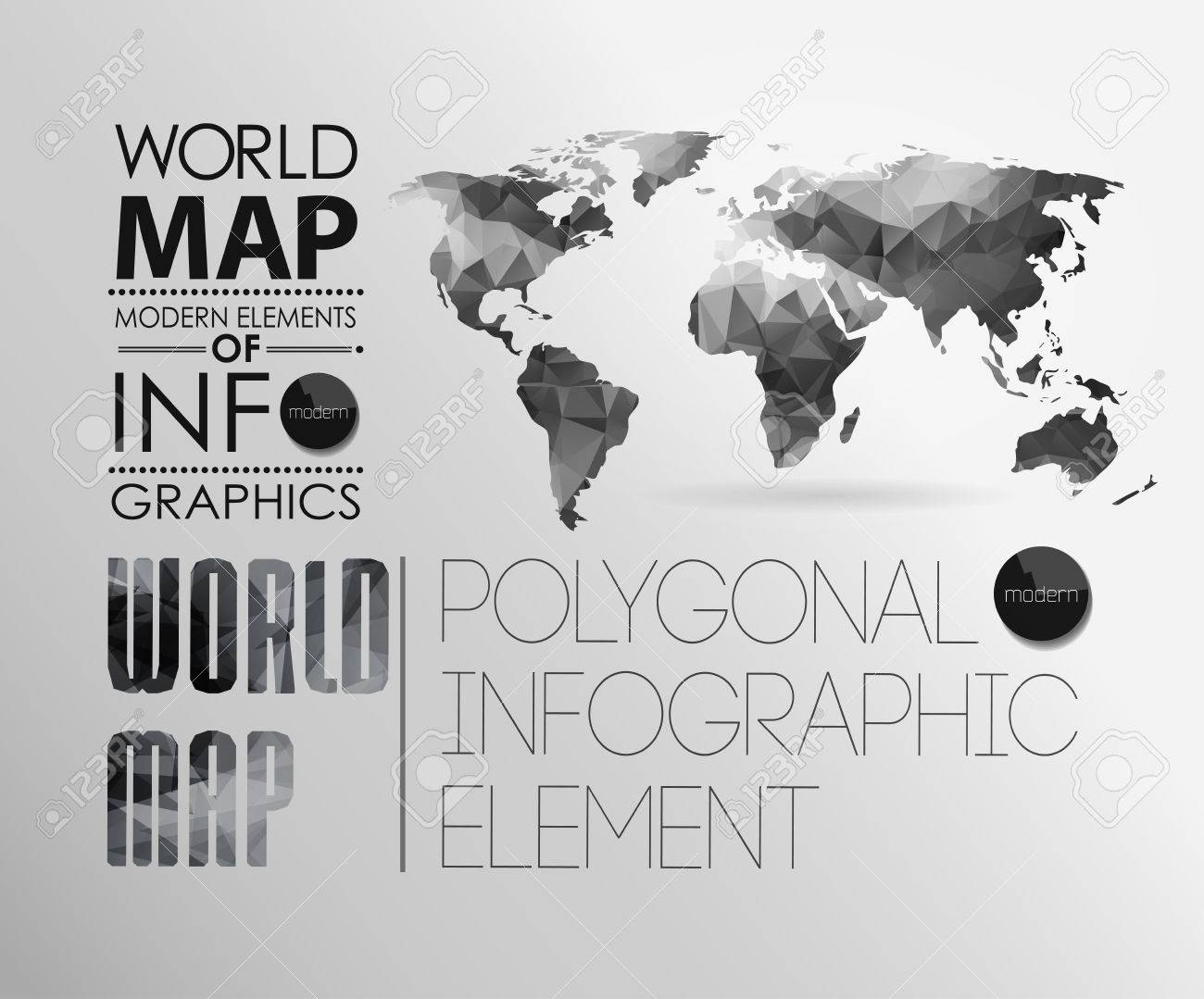 Polygonal world map and information graphics world map and polygonal world map and information graphics world map and typography stock vector 24331329 gumiabroncs Choice Image