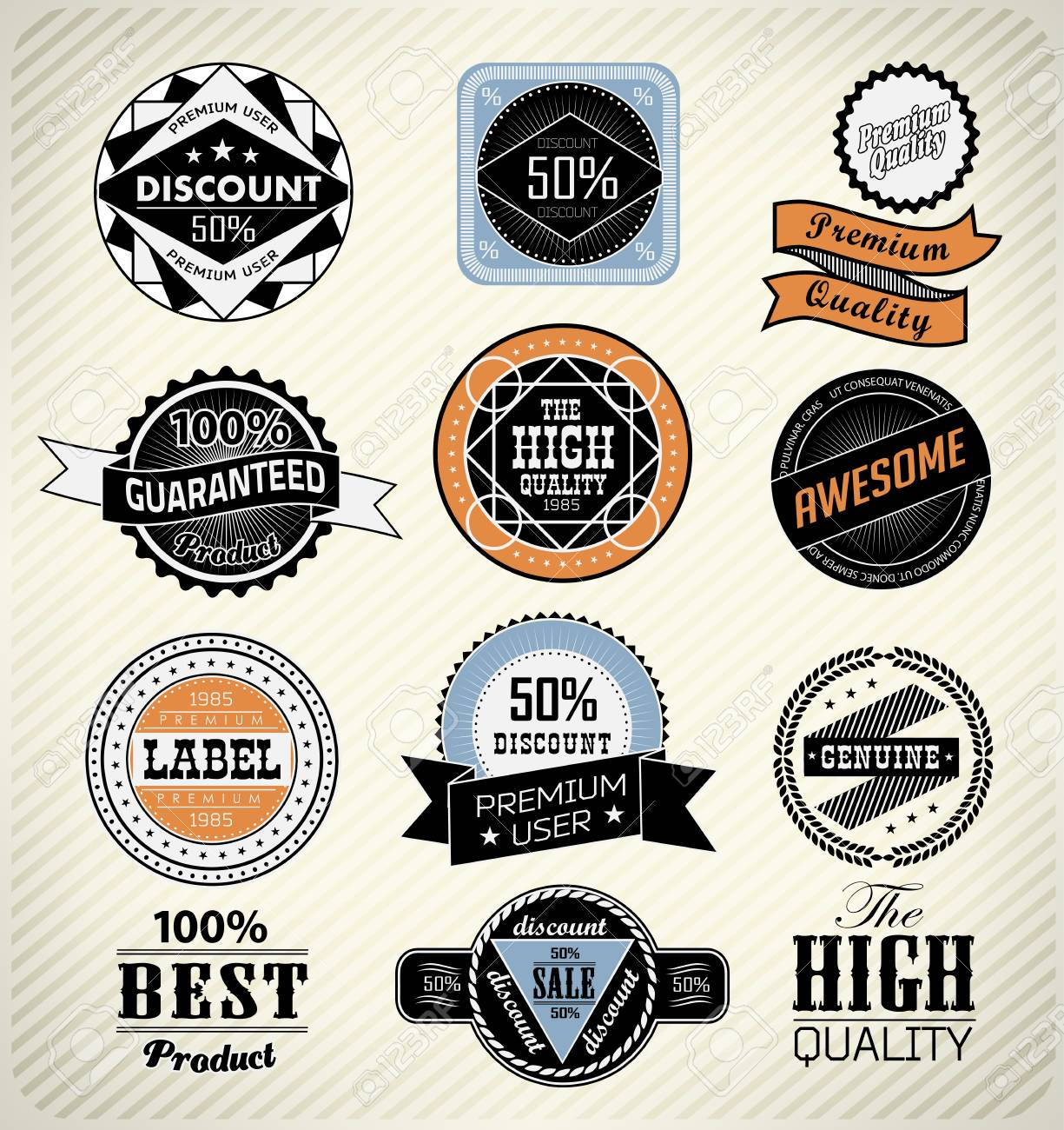 set retro vintage ribbons and label can be used for invitation, congratulation or website Stock Vector - 27136054