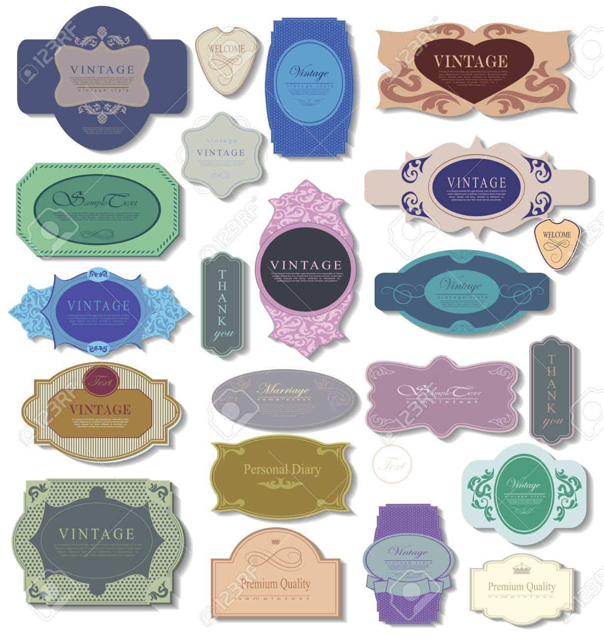 set retro vintage ribbons and label can be used for invitation, congratulation or website Stock Vector - 27136190