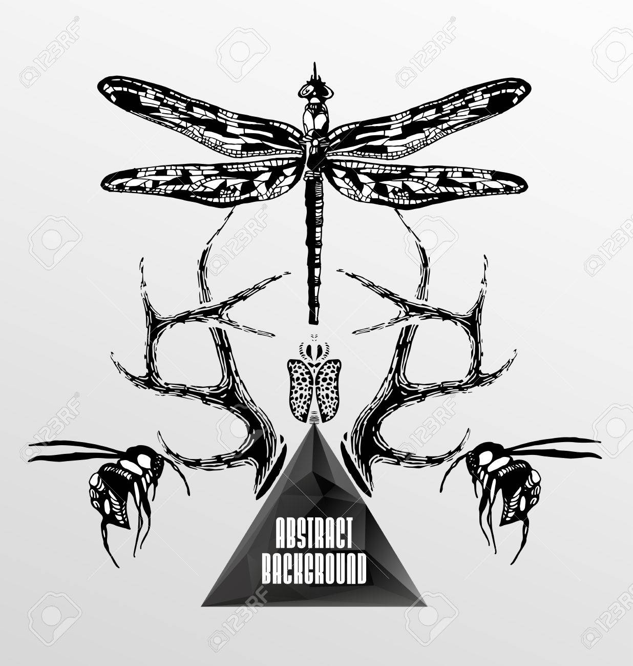 Abstract  gothic sacral illustration with polygon,  crystal design element, symbol, sign for tattoo Stock Vector - 27136373