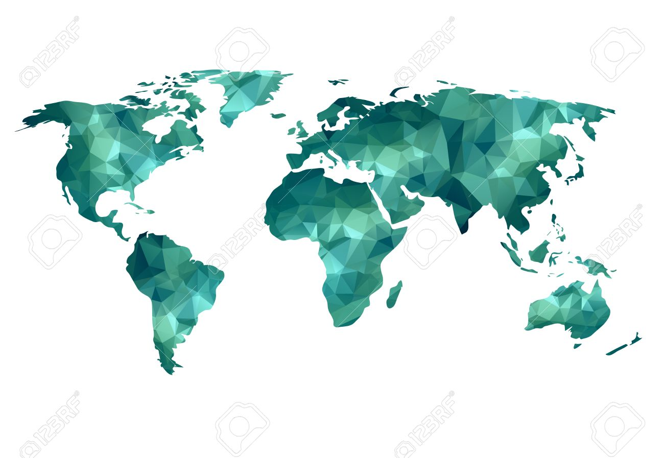 World Map Background In Polygonal Style Can Be Used For Website