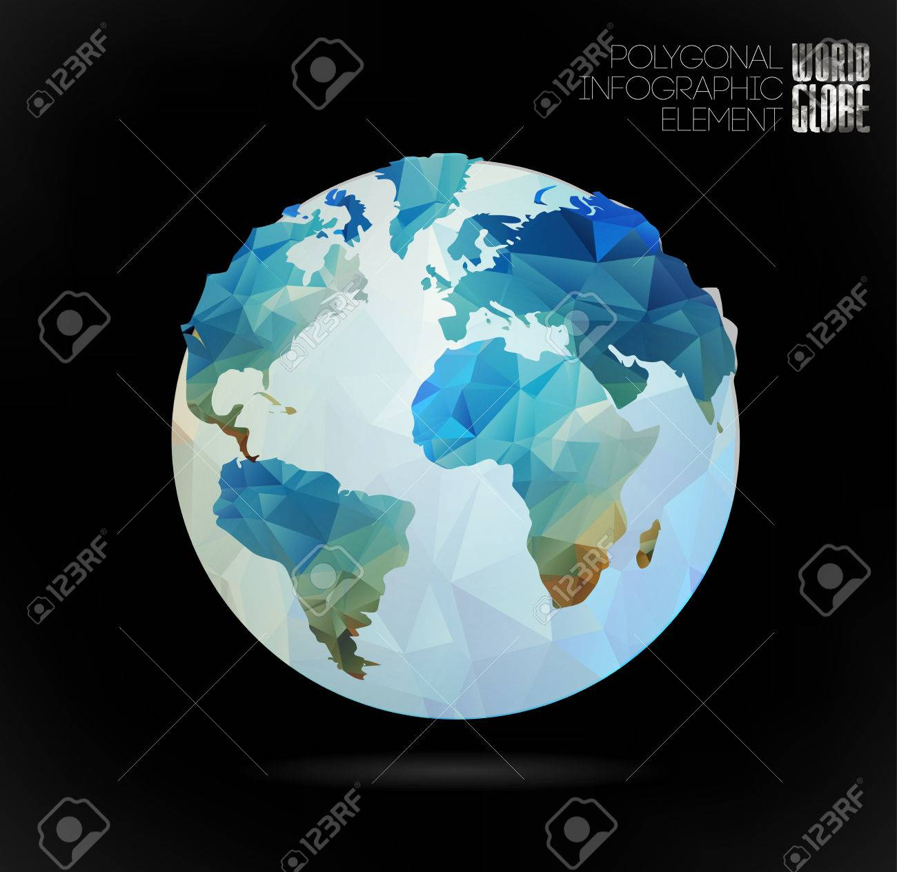 Vector world globe 3d triangular map of the earth modern elements vector vector world globe 3d triangular map of the earth modern elements of info graphics world map gumiabroncs Images