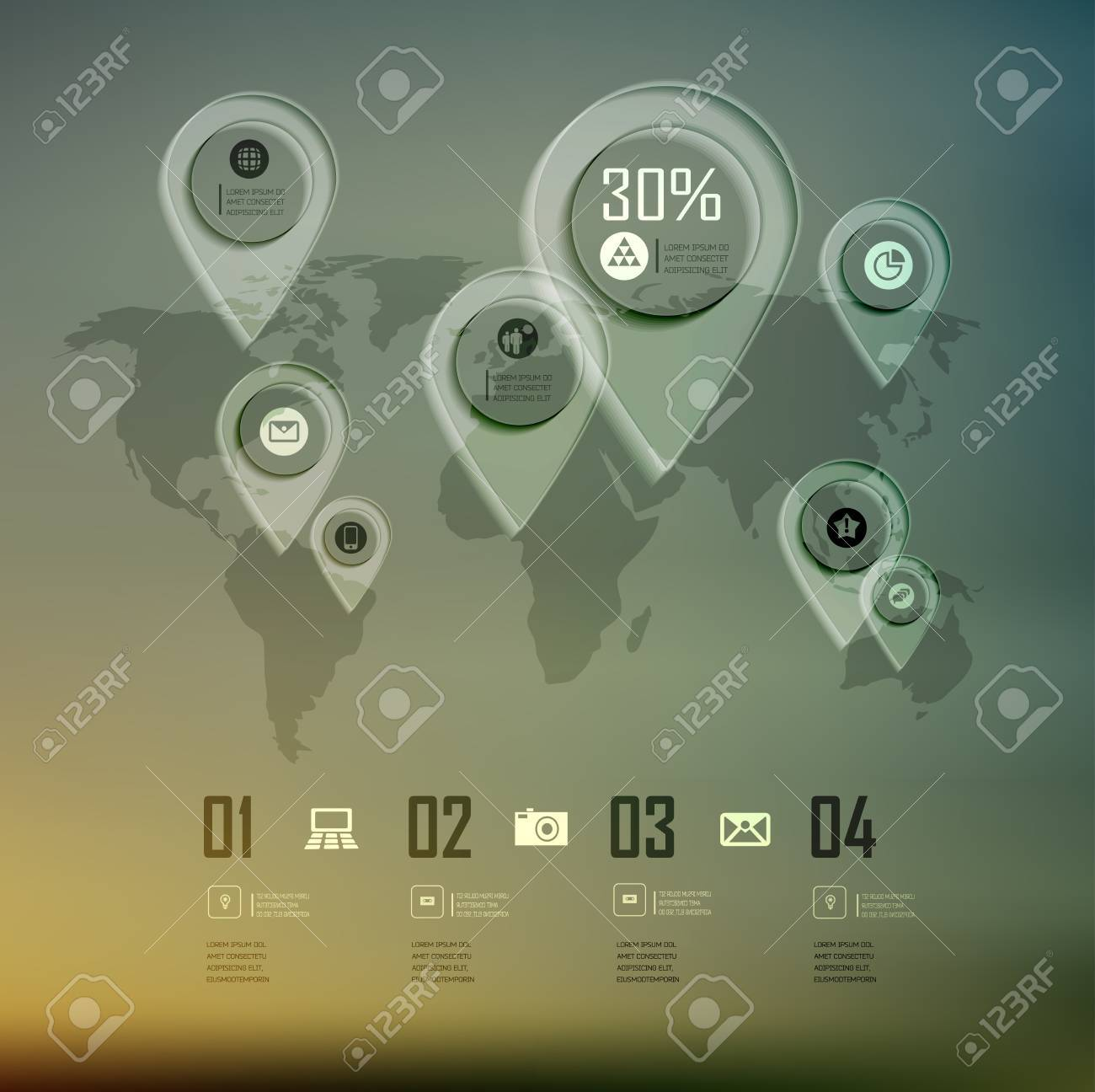 Transparent business infographics world map on blur landscape transparent business infographics world map on blur landscape can be used for workflow layout banner gumiabroncs Images