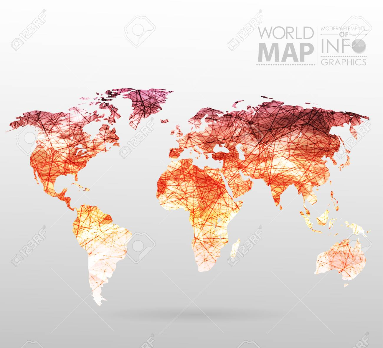 Modern Map Of The World.World Map Background In Polygonal Style Modern Elements Of Info