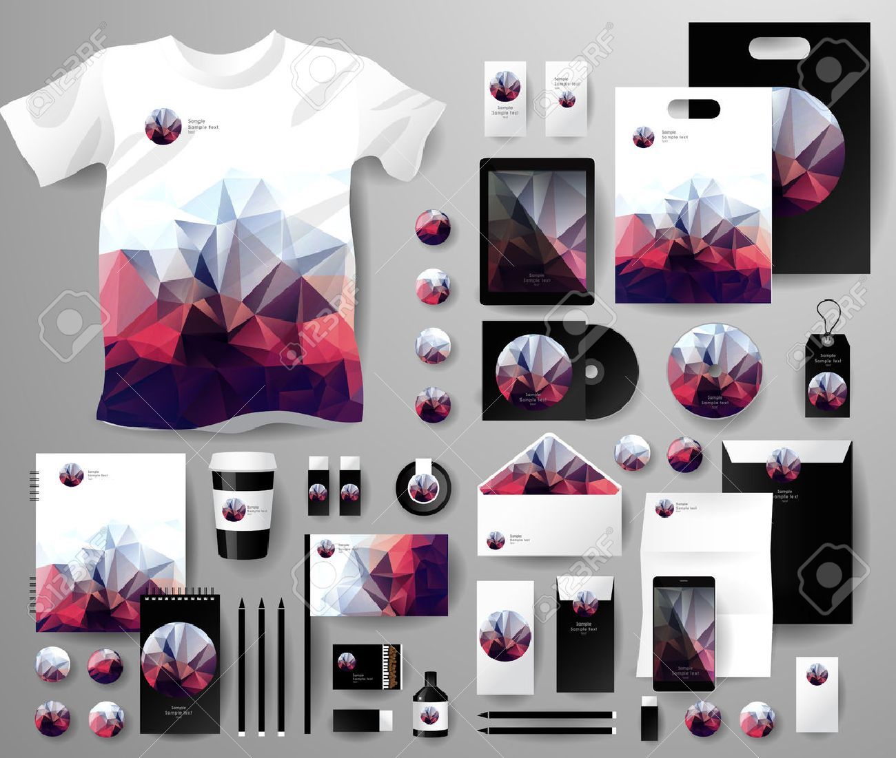 Abstract business set in polygonal style. Corporate identity templates, notebook, card, flag, T-shirt, disk, package, label, envelope, pen, Tablet PC, Mobile Phone, matches, ink, pencil, paper cup, forms, folders for documents, invitation card - 42982468