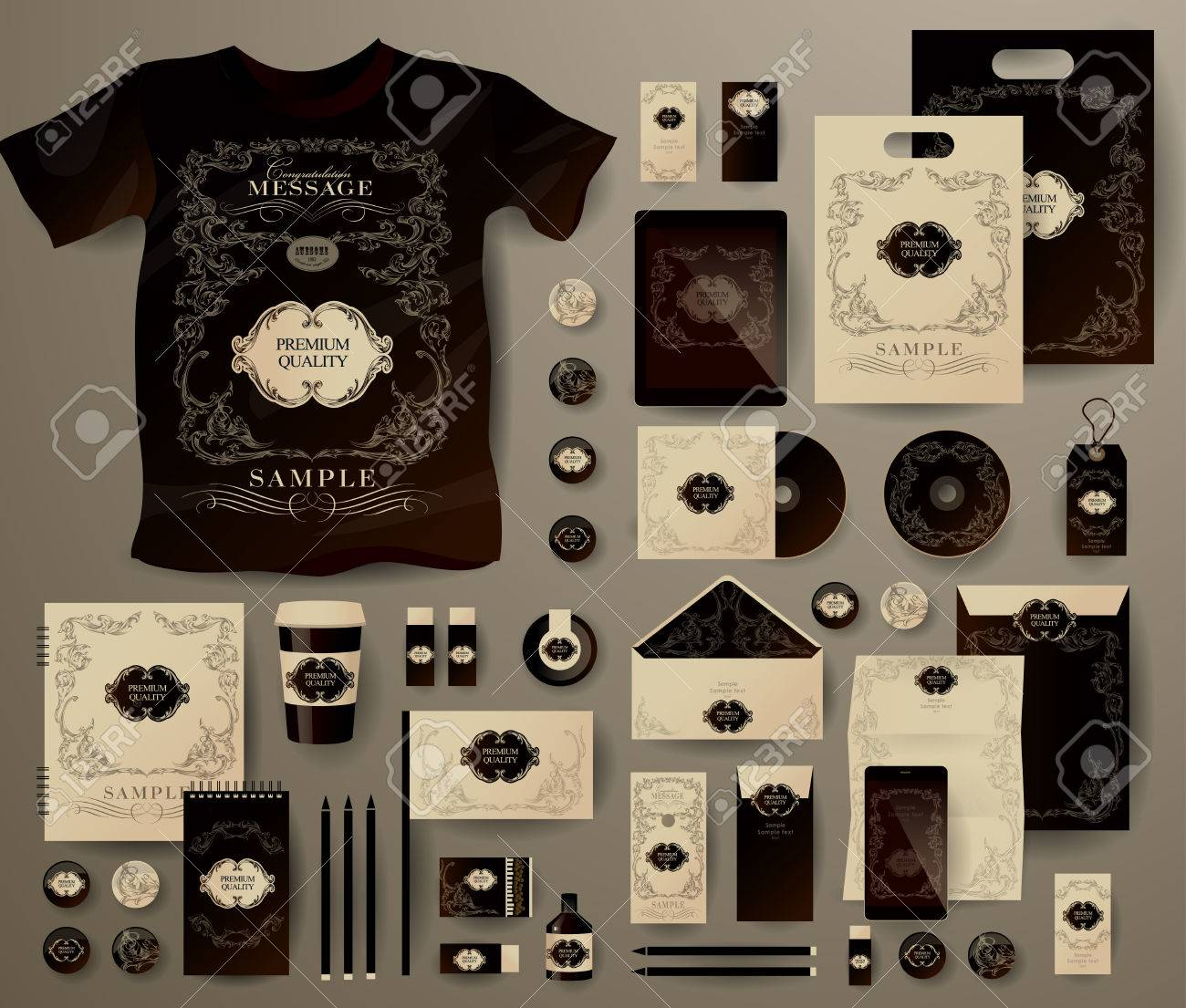 Abstract business set in decorative, vintage style. Corporate identity templates, notebook, card, flag, T-shirt, disk, package, label, envelope, pen, Tablet PC, Mobile Phone, matches, ink, pencil, paper cup, forms, folders for documents, invitation card - 43046443