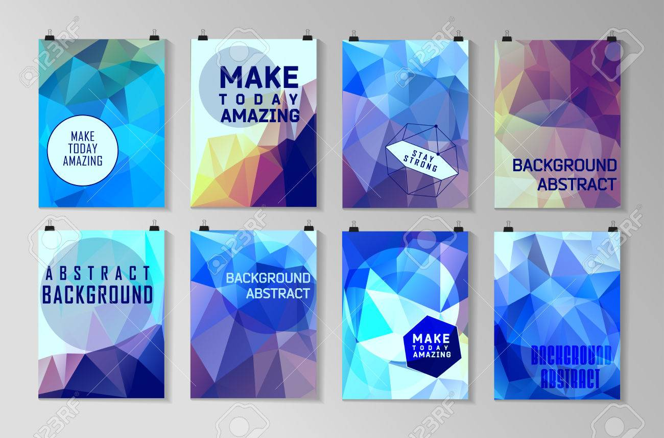 Set of poster, flyer, brochure design templates. Abstract modern polygonal backgrounds. - 43055282