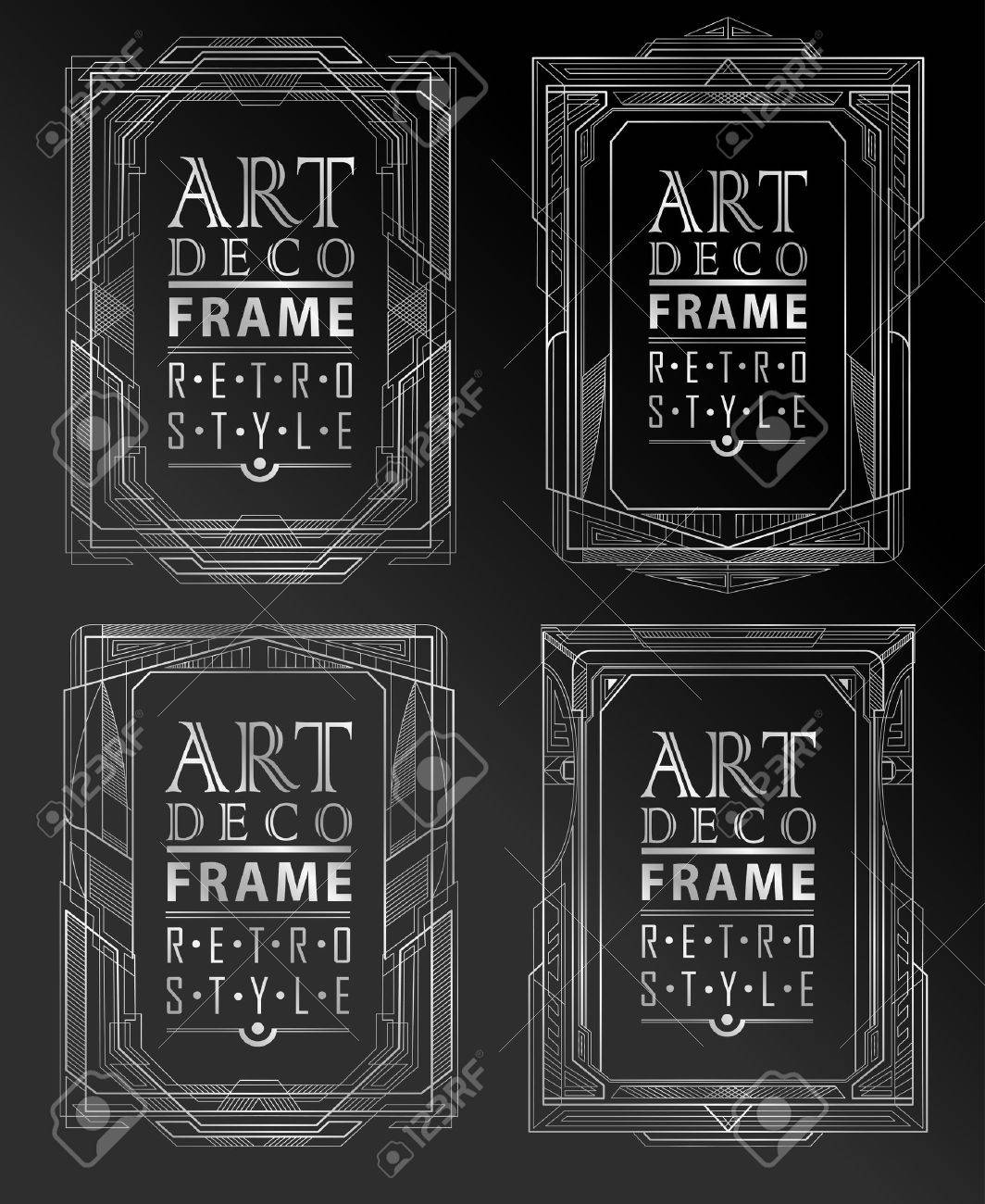 Art deco geometric vintage frame can be used for invitation, congratulation - 43344811