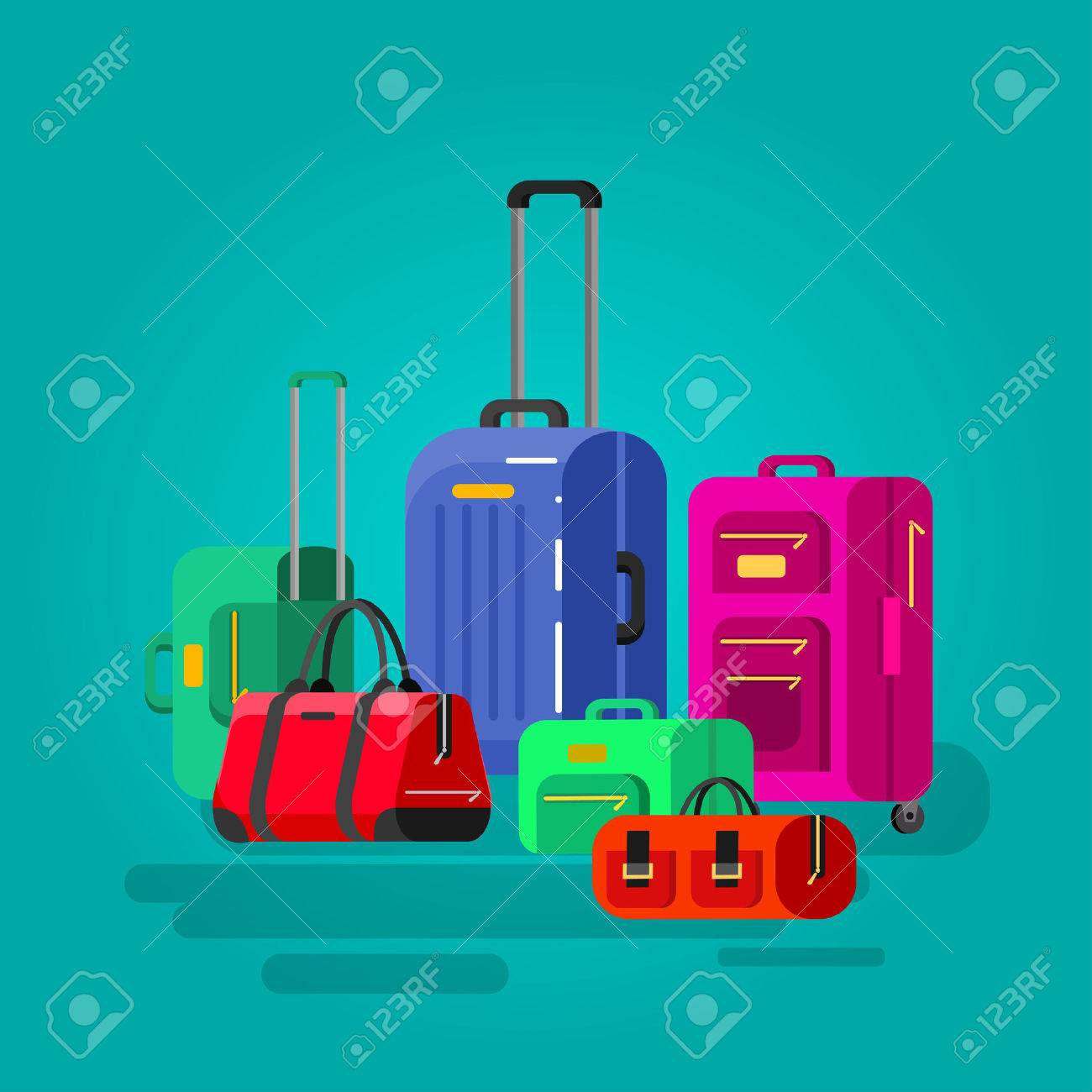 Travel bags in various colors. Luggage suitcase and bag - 56240163