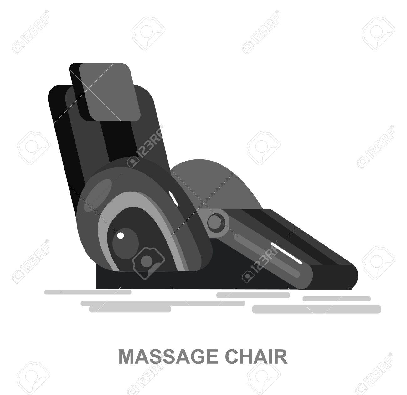 Vector detailed massage chair, massager for relax, cool flat illustration isolated on white background. - 56240402
