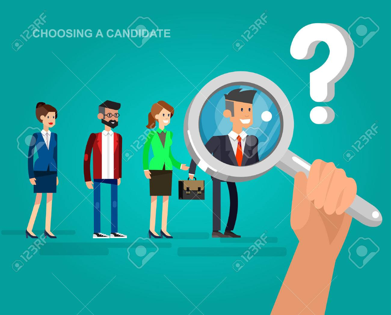 Hiring process concept with candidate selection. Vector detailed character, cool flat illustration - 56430297