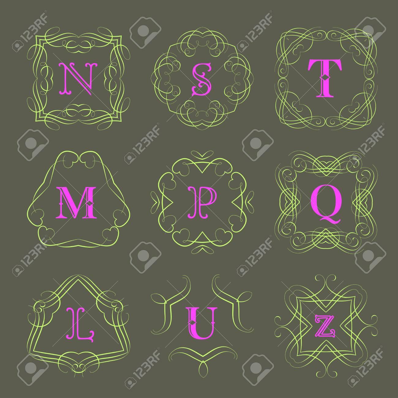 Modèle de monogramme avec l\'ornement élégant calligraphique. conception  d\'identité avec la lettre S, T, M, P, Q, L, U, Z pour boutique, magasin ou  ...