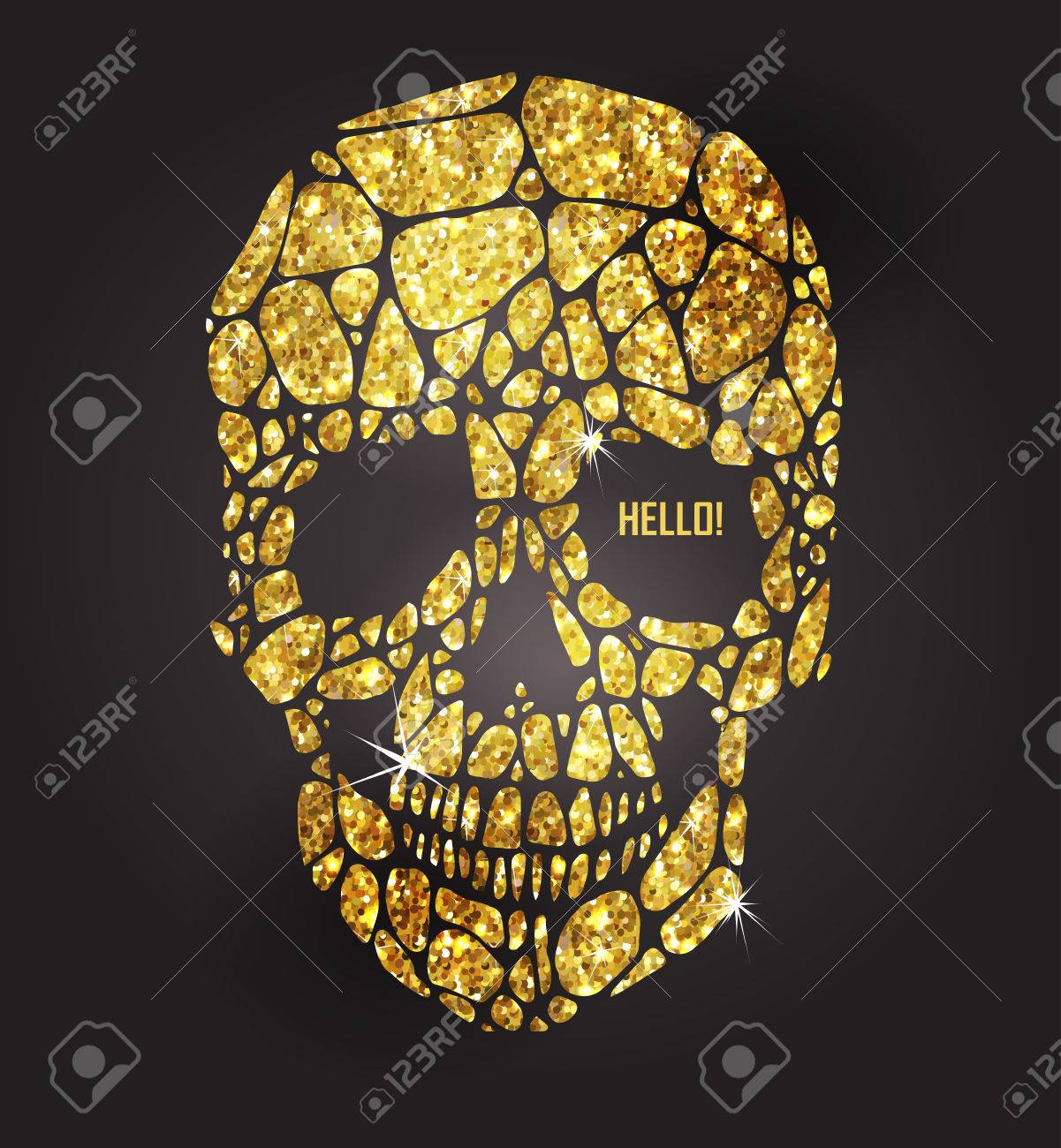 Skull of gold glittering stars . Golden element collection. Day of The Dead - 56433869
