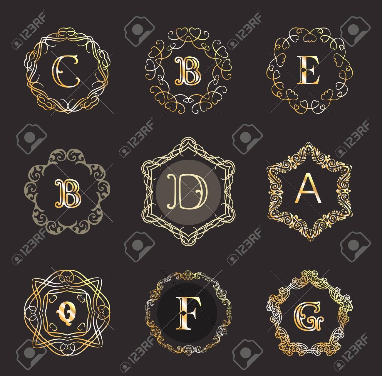 Monogram Template With Calligraphic Elegant Ornament. Identity ...