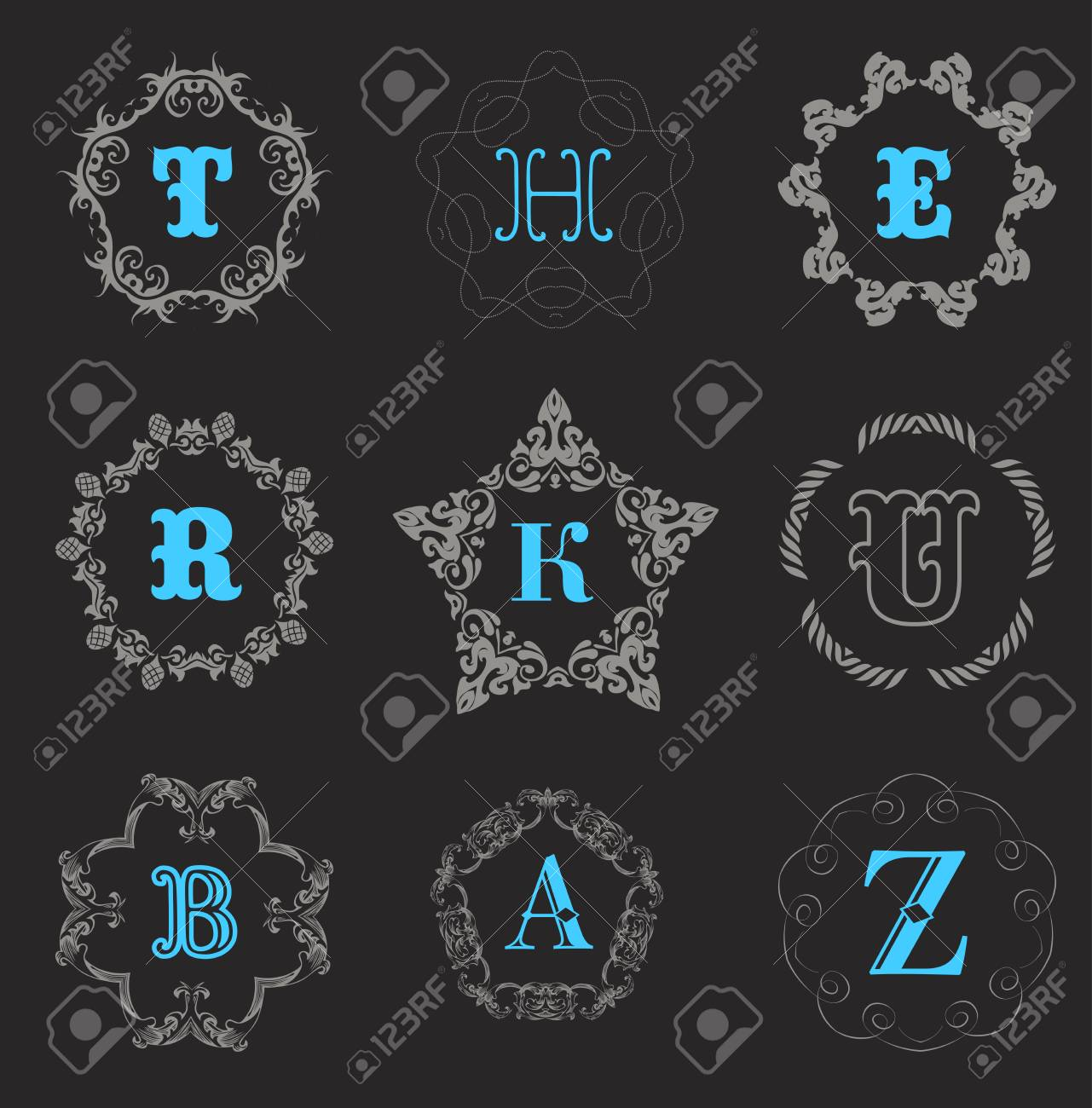 Modèle de monogramme avec l\'ornement élégant calligraphique. conception  d\'identité avec H, R, K, U, B, A, lettre Z pour boutique, magasin ou un ...