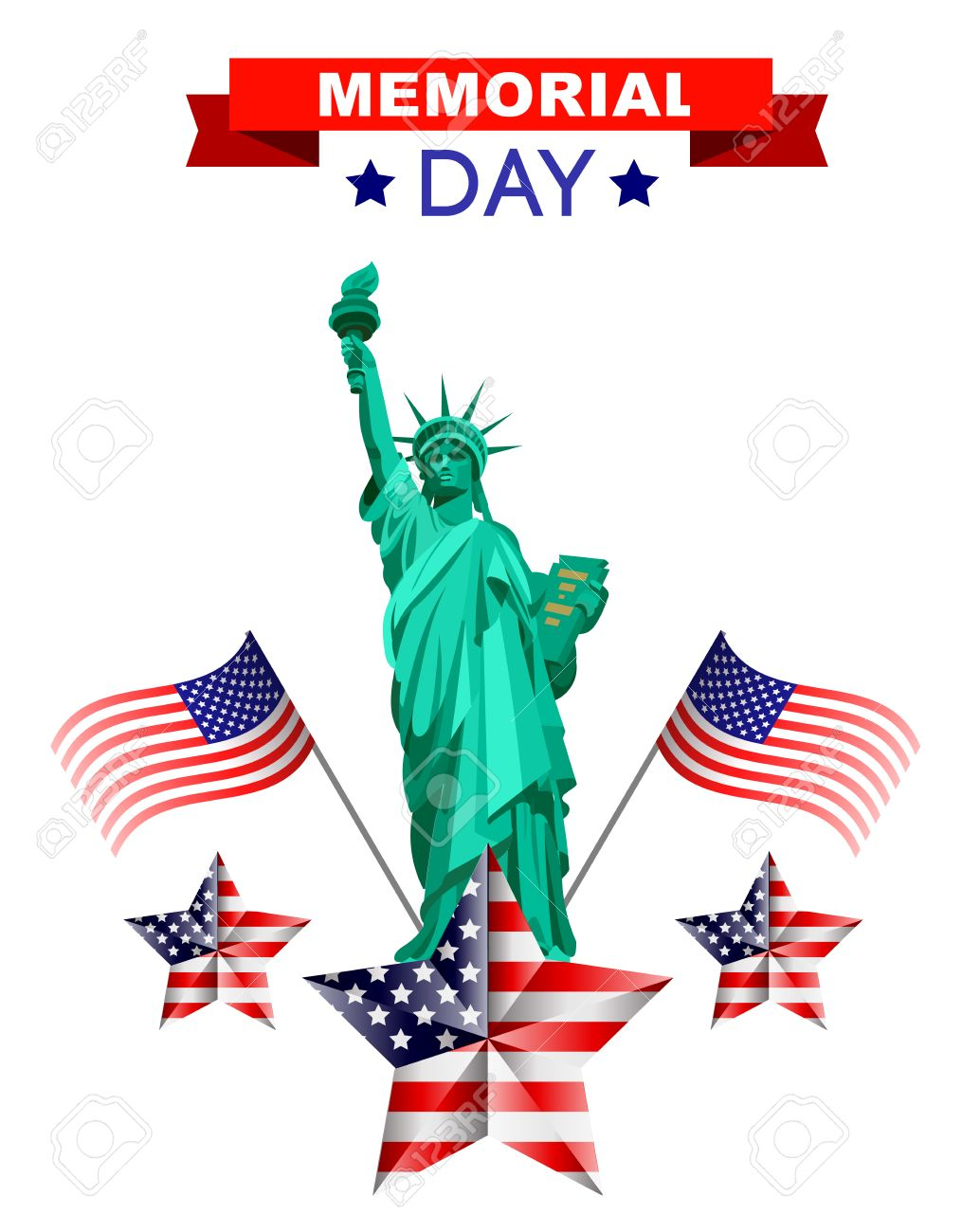 memorial day poster illustration patriotic united states of