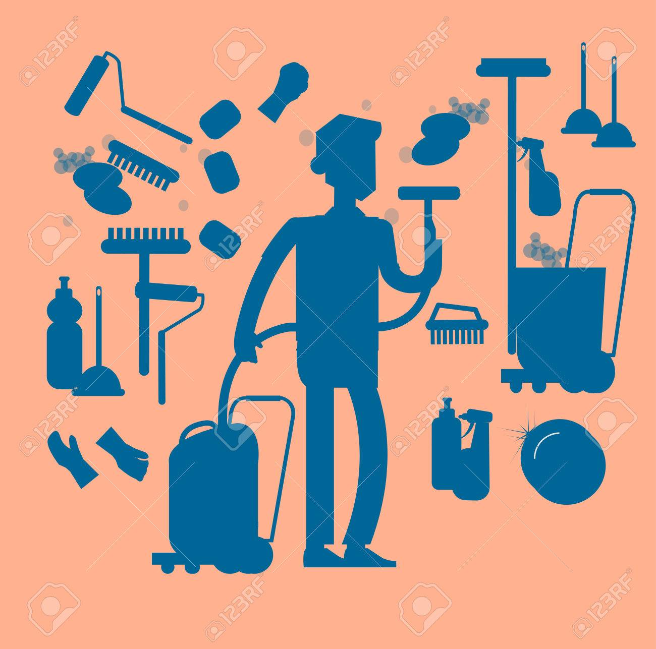 Poster design kit - Poster Design For Cleaning Service And Supplies Vector Silhouette Character Professional Housekeeper Cleaning Kit