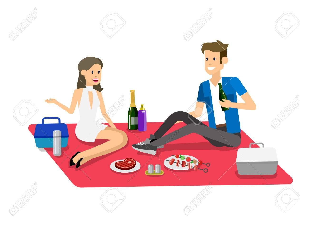 Vector Character People On Family Picnic Or Bbq Party. Food And ...