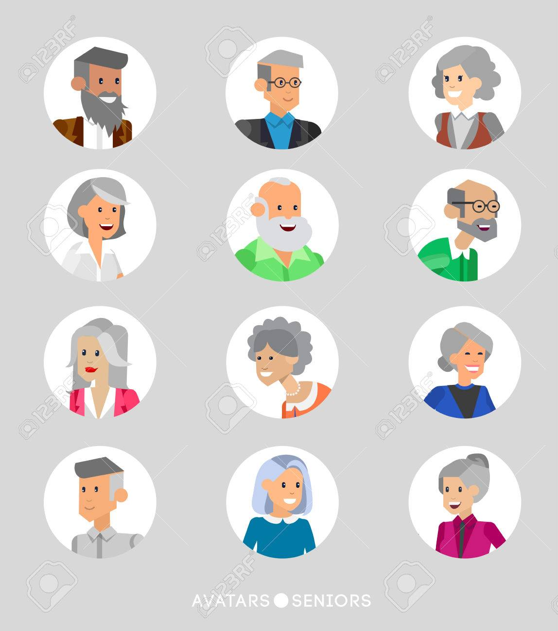 Cute cartoon seniors avatars set male and female seniors old people faces collection