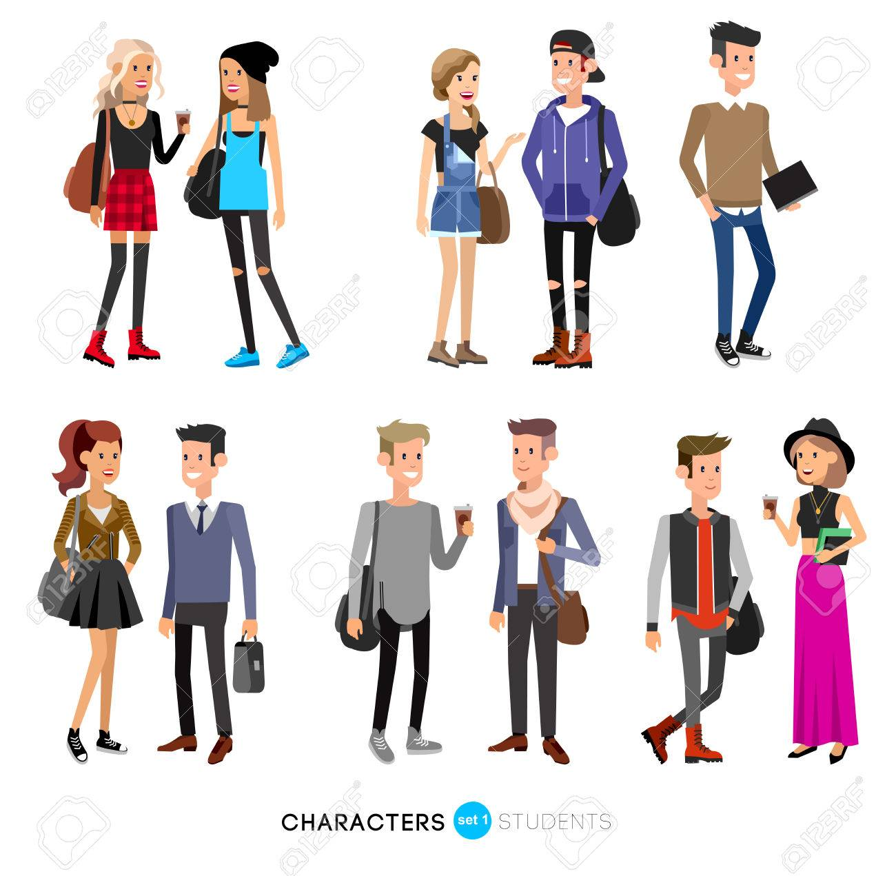 Detailed character students, student Lifestyle, couple of young people in street clothes style. Illustration of character student. Vector flat student go to study - 57300100