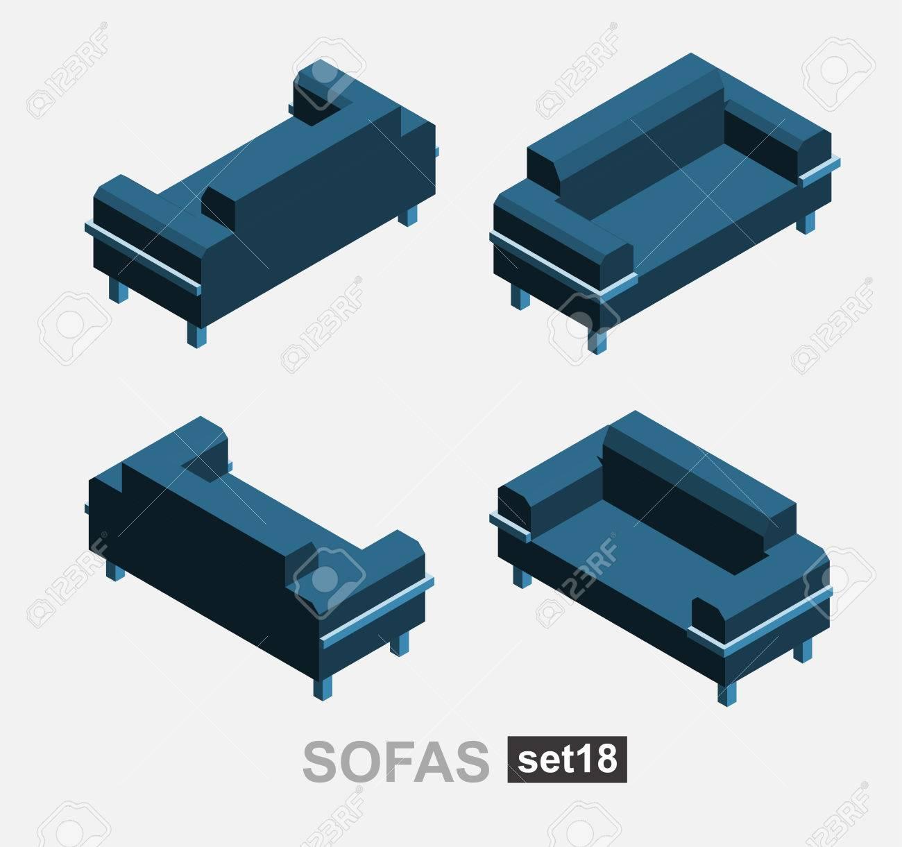 Set of the isolated isometric sofa. Vector sofa. Illustration..