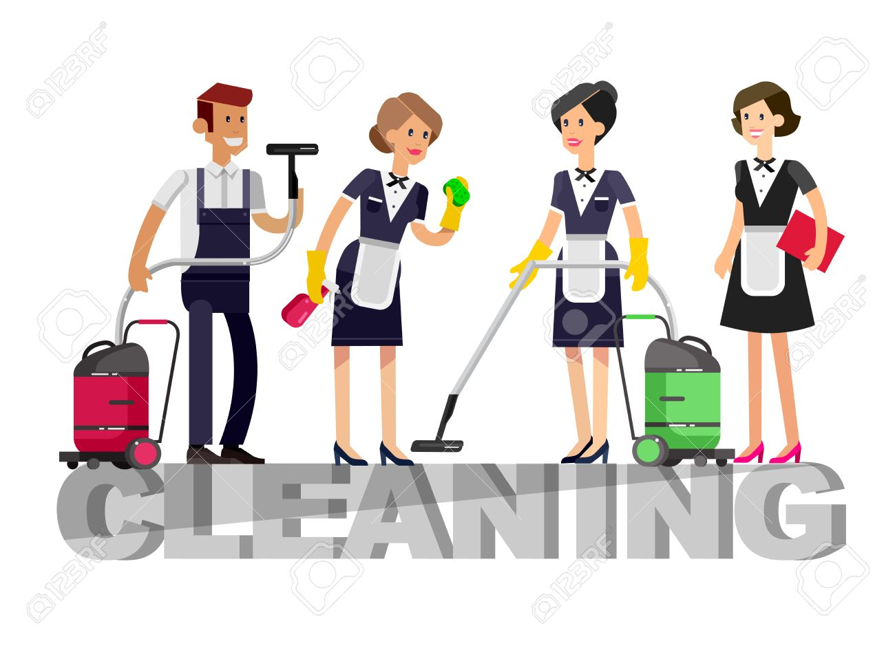 Poster design kit - Poster Design For Cleaning Service And Cleaning Supplies Vector Detailed Character Professional Housekeeper Cleaning