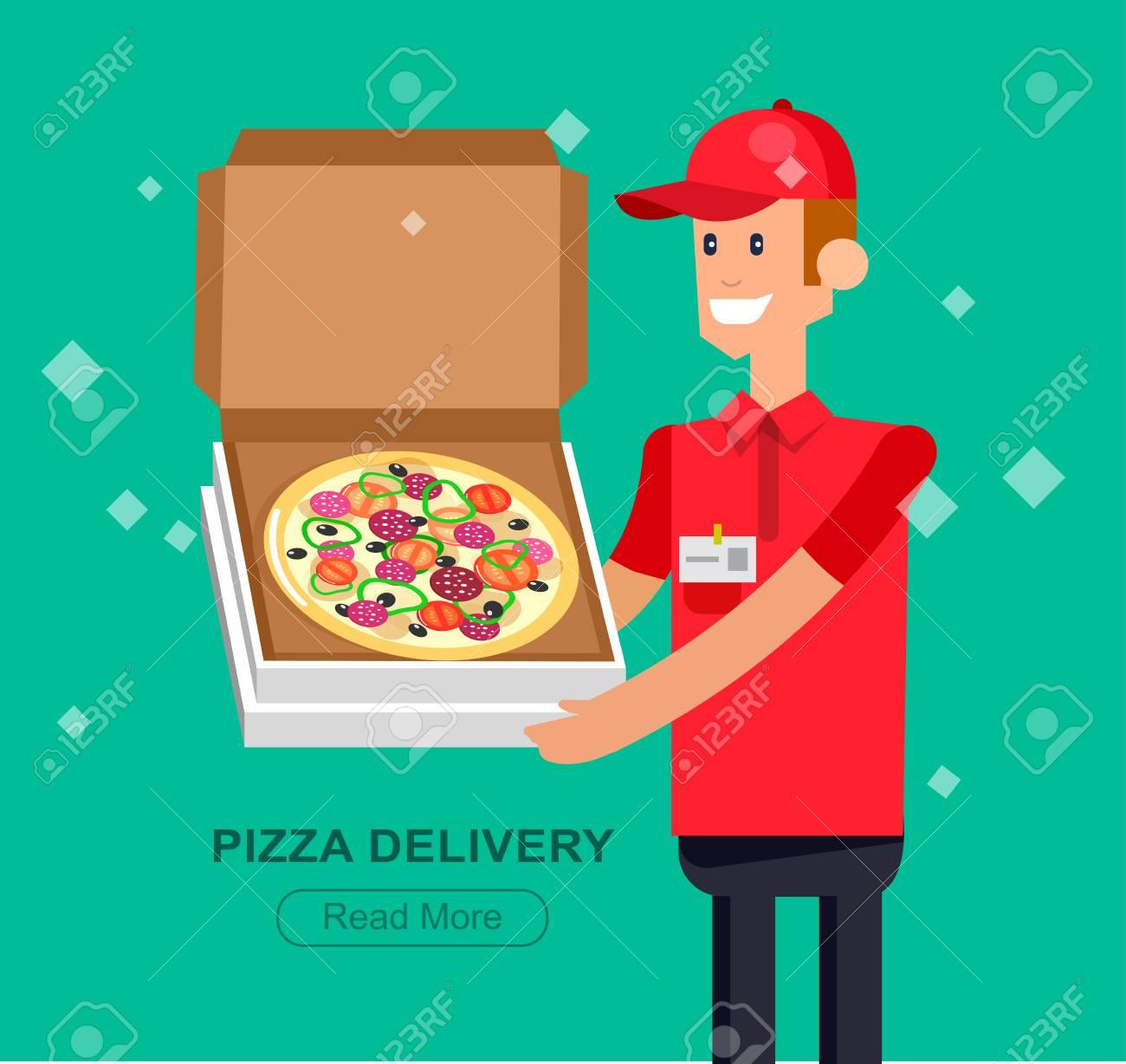Carácter Vectorial Detallado, Chico Plana Fresco De Entrega De Pizza ...