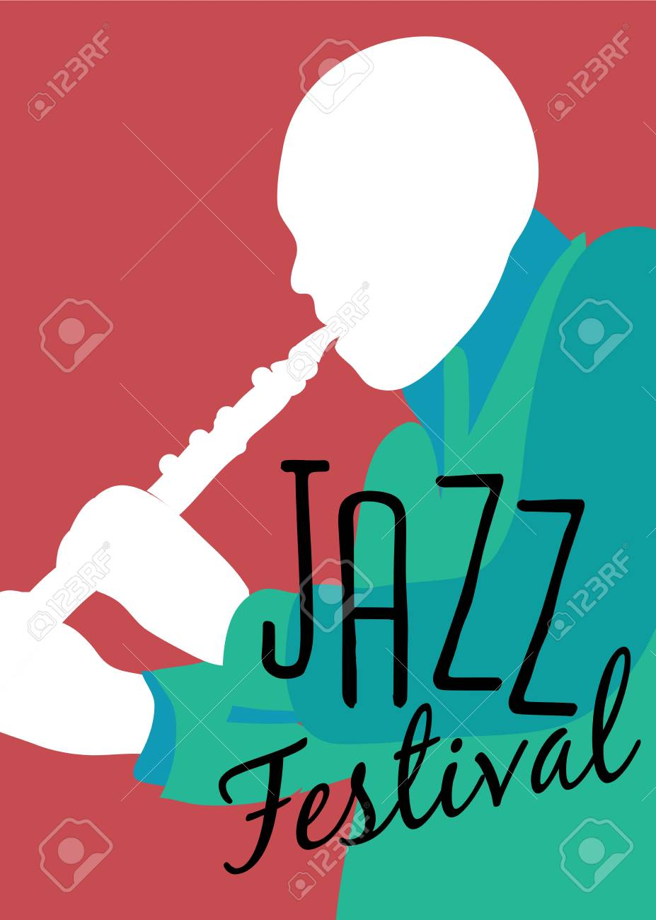 Retro Jazz festival Poster, illustration of Jazz band and cool