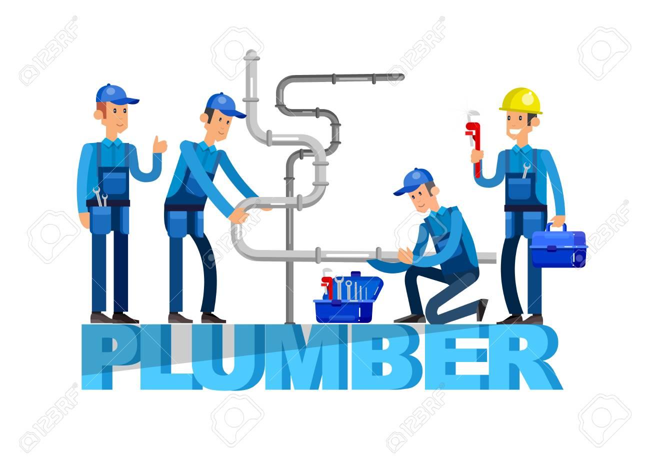 detailed character proffesional plumber men set , plumber repair professional, plumber fixing water pipes. Vector plumber set. Illustration plumber character. - 57313033