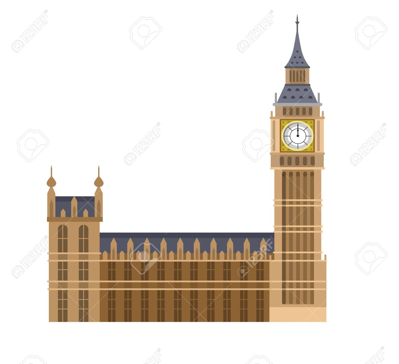 High quality, detailed most famous World landmark. Vector illustration of the Big Ben, the symbol of London and United Kingdom. Travel vector. Travel illustration. Travel landmarks. Happy travel - 57313289