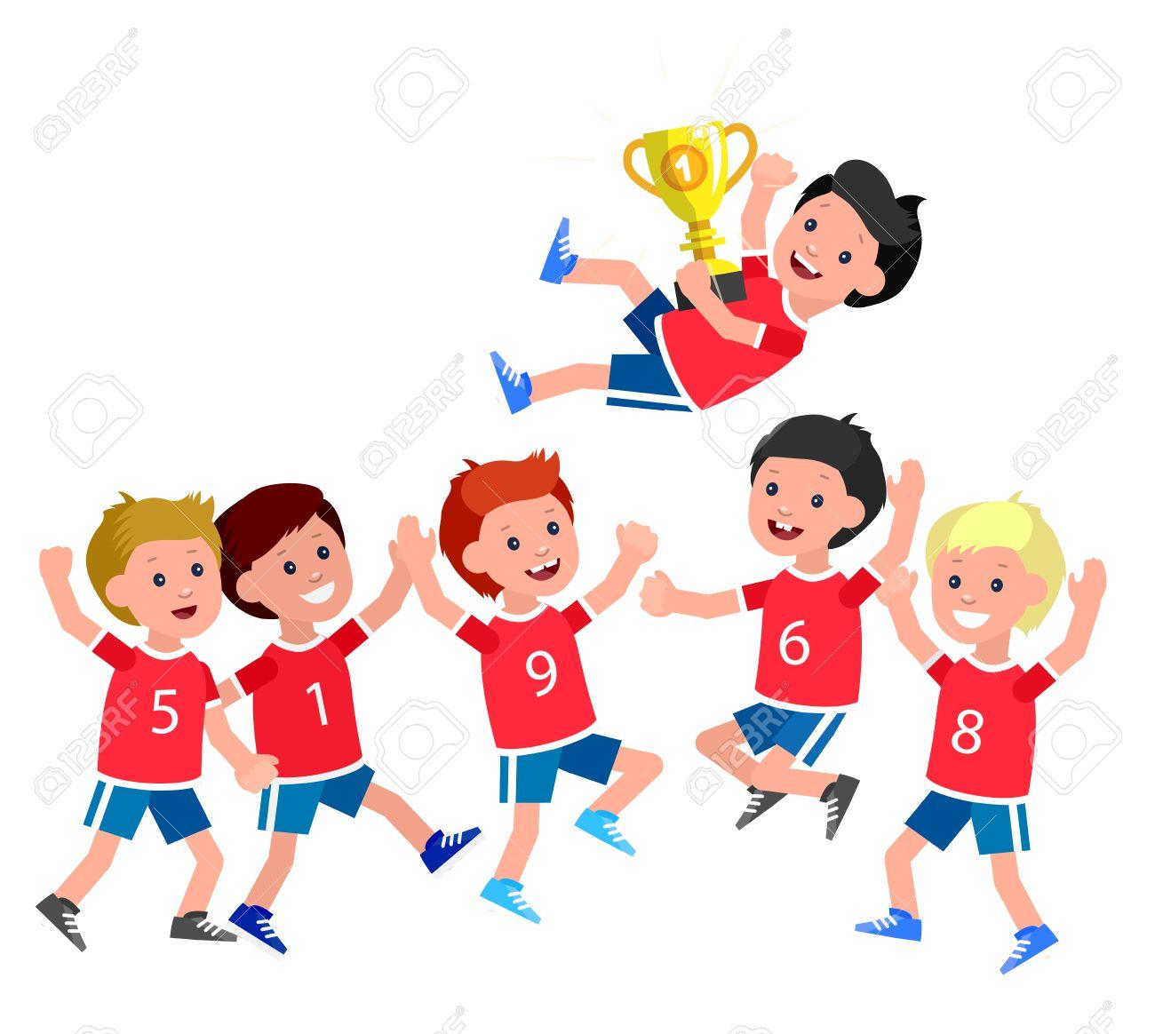 かわいいベクトル文字子供スポーツ チーム ゴールデン カップを獲得