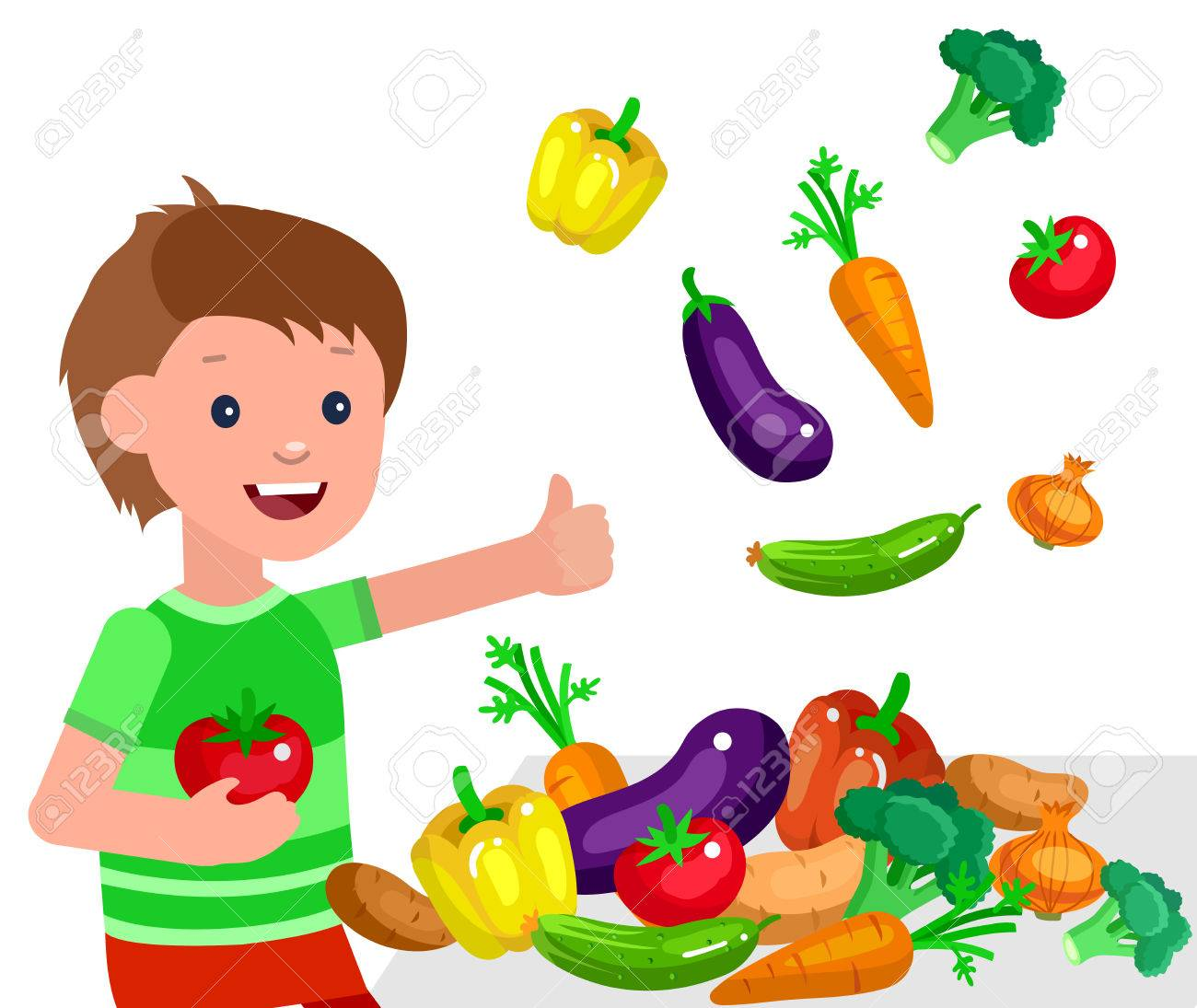 Cute Vector Character Child And Healthy Food Child Boy With Royalty Free Cliparts Vectors And Stock Illustration Image 57326998