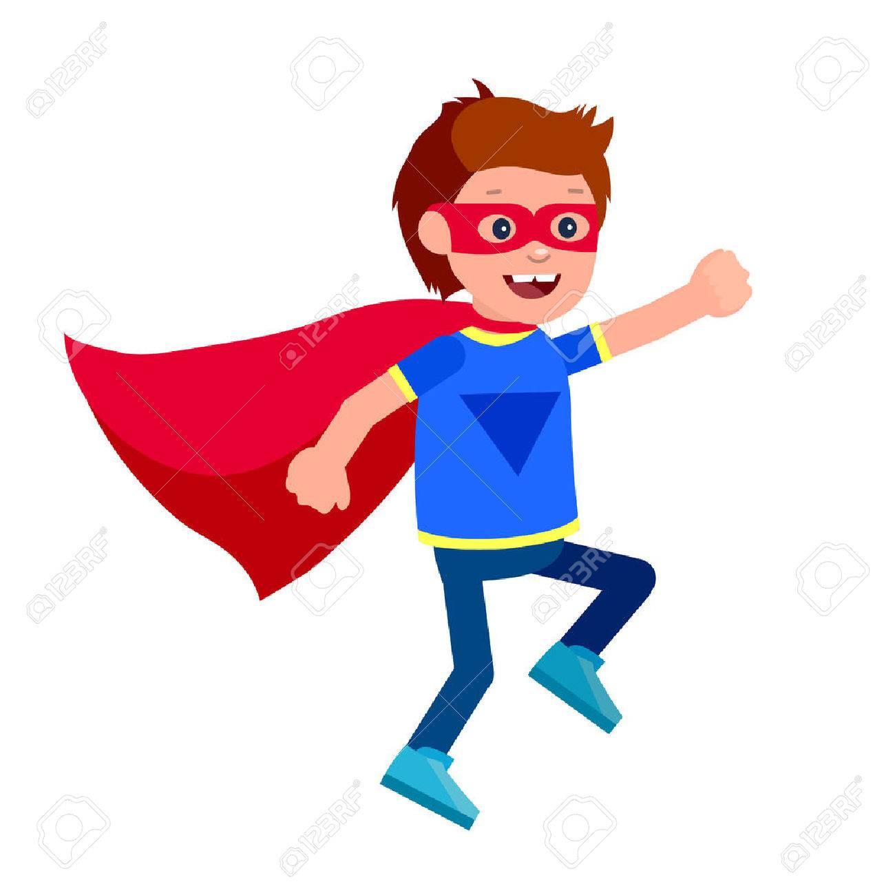 Cute Vector Character Child. Superhero Kid. Happy Kid Illustration ...