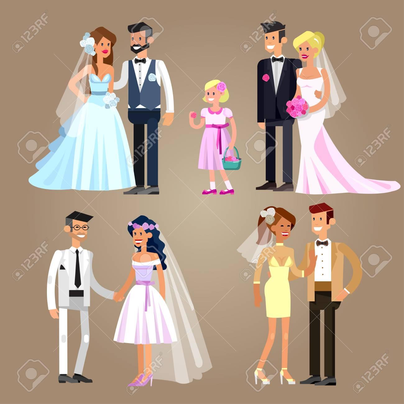 Gluckliche Nette Brautpaar Vector Hochzeit Detaillierte Charakter