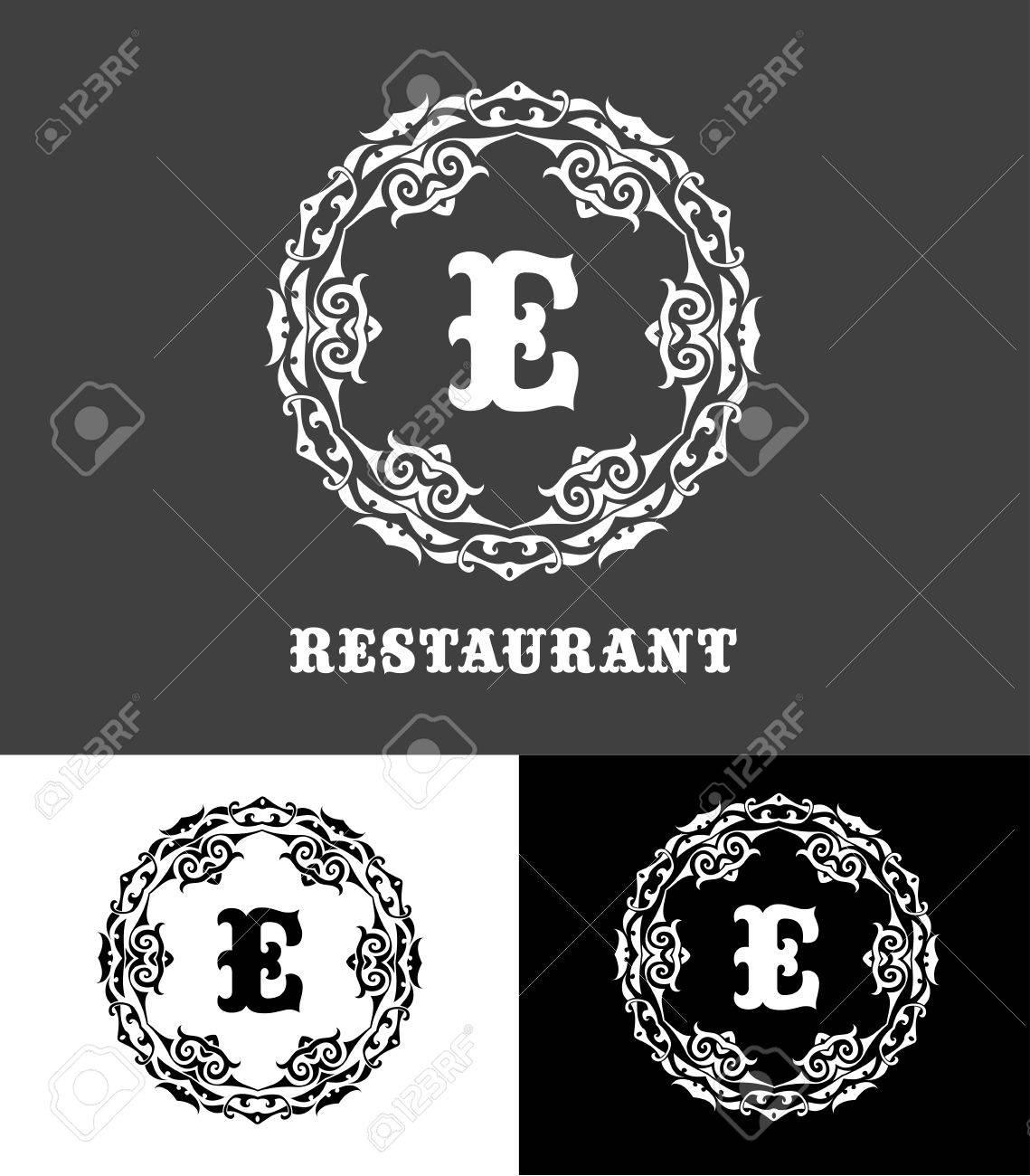 Monogram logo template with calligraphic elegant ornament identity monogram logo template with calligraphic elegant ornament identity design with e letter for shop altavistaventures Images