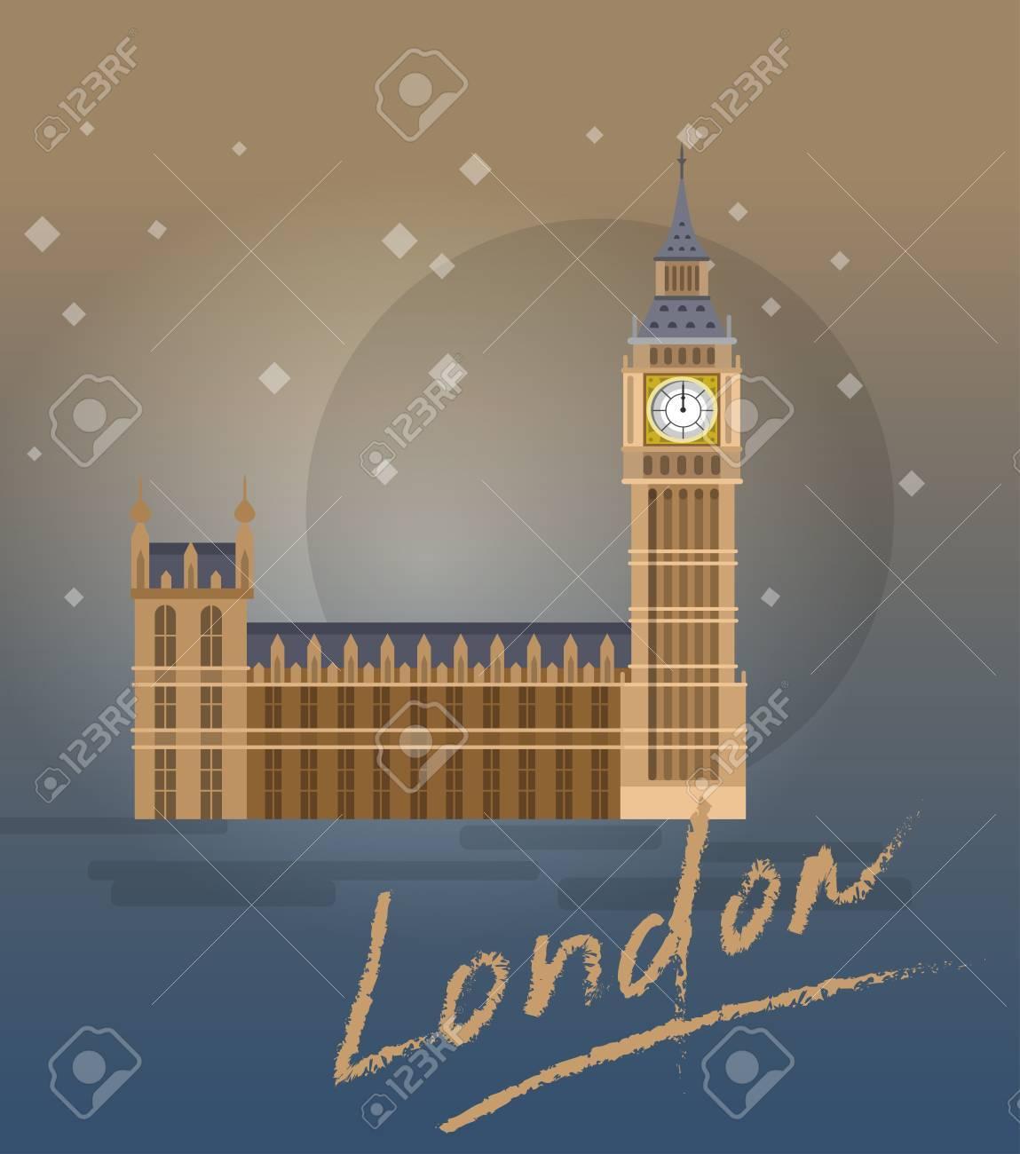Alta qualità, dettagliata più famoso punto di riferimento mondiale. illustrazione vettoriale del Big Ben, il simbolo di Londra e Regno Unito.