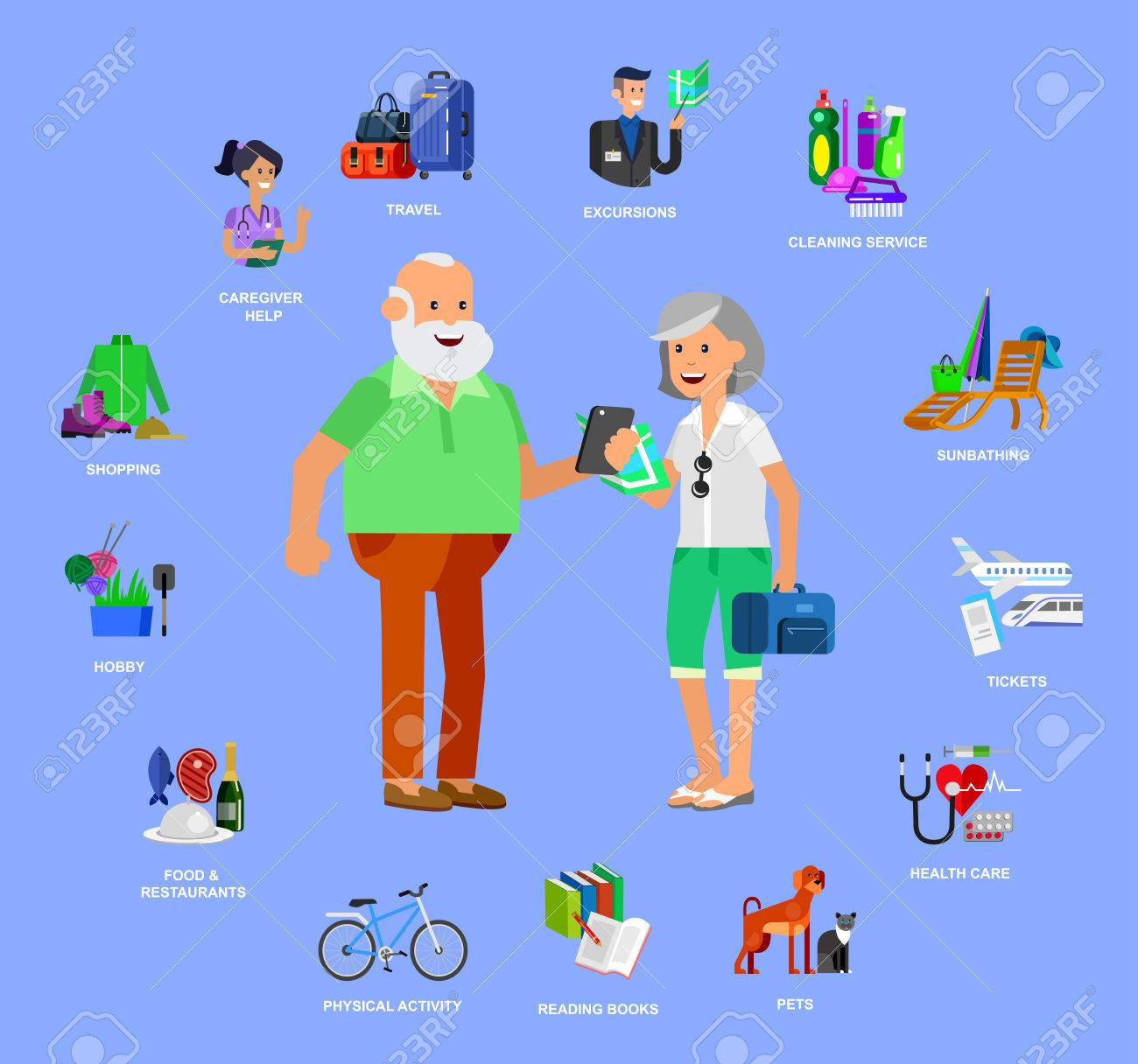 vector detailed character senior senior age old age couple vector vector detailed character senior senior age old age couple and icons pension hobbies and interests leisure of pensioner