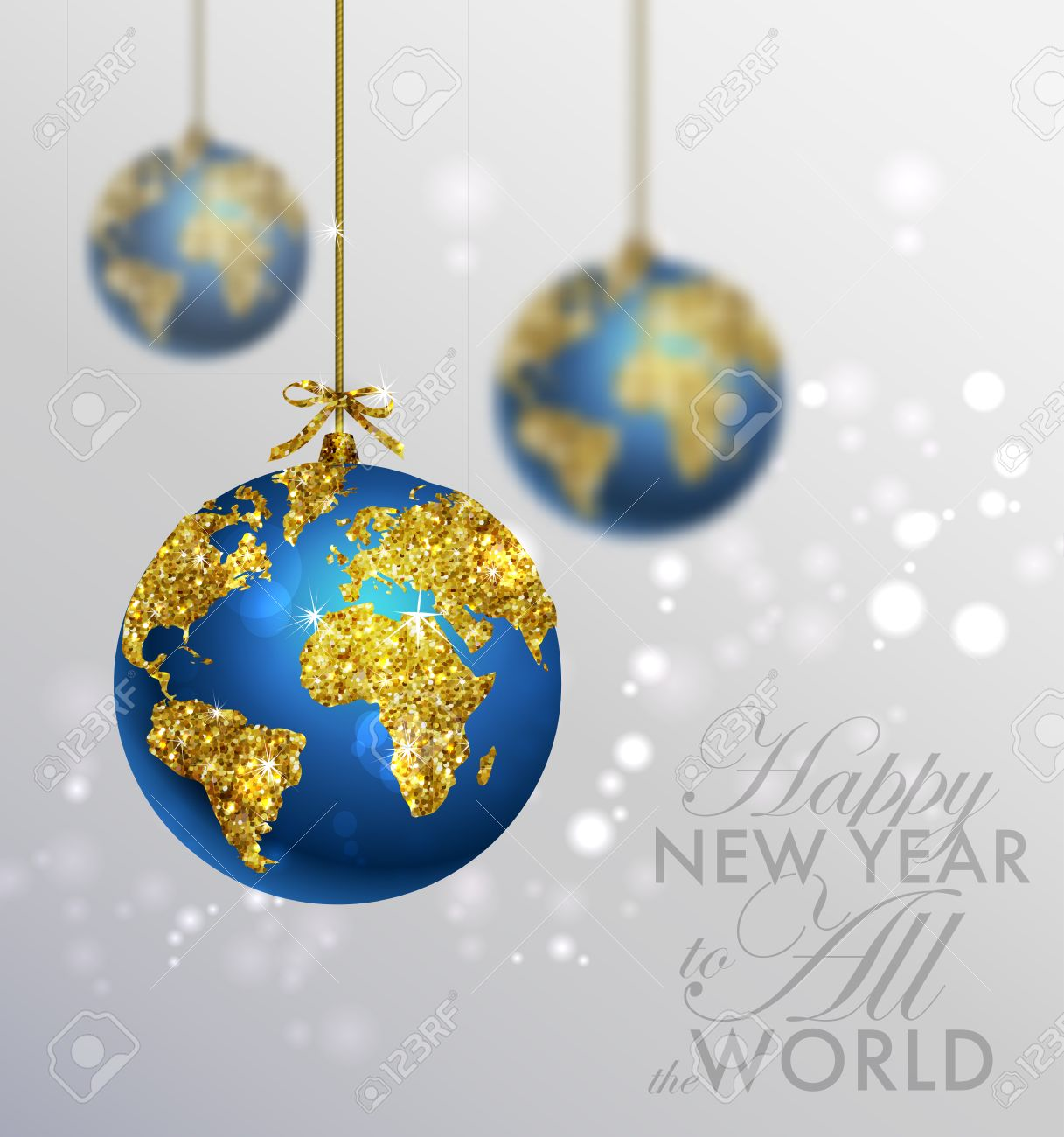 Glitter Christmas Ball With World Map Greeting Card With Typography And Gold  World Globe