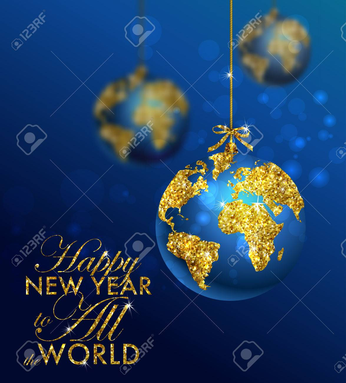 Glitter christmas ball with world map. Greeting Card with typography and gold world globe. Merry Christmas concept. Background with golden calligraphic elements - 57548911